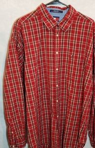 Tommy Hilfiger red plaid long sleeved men's shirt